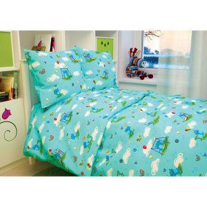 """Детское постельное бельё BABY """"Слоники"""", цвет голубой, 112х147 см, 110х150 см, 60х60 см, бязь 142 гр/м"""