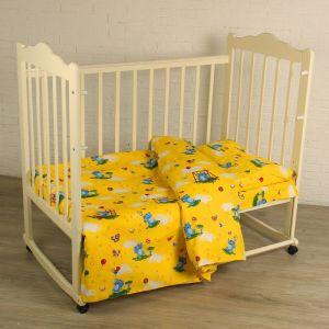 """Детское постельное бельё BABY """"Слоники"""", цвет желтый 112х147 см, 110х150 см, 60х60 см, бязь 142 гр/м"""