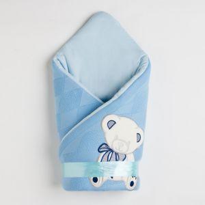 Конверт детский, цвет голубой, вязанный 4901038