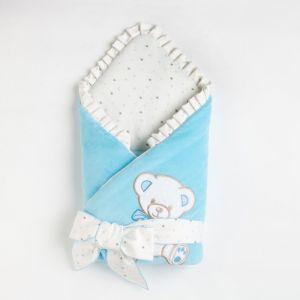 Конверт на выписку детский, цвет голубой, велюр 4901041