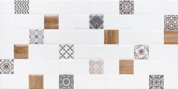 1041-0238 Настенная плитка декор 1 Астрид 20х40 белая