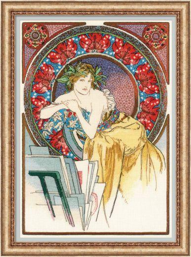 Набор для вышивания крестом Девушка с мольбертом 100/058 фирма Риолис
