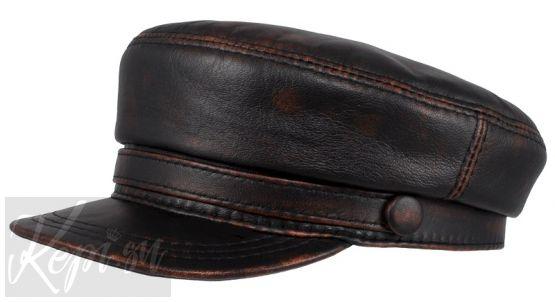 Фуражка - картуз кожаный черно-коричневый с эффектом старения.