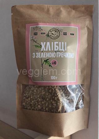 """Сыроедческие сухарики с зелёной гречкой """"Живая Кухня"""",100 грамм"""