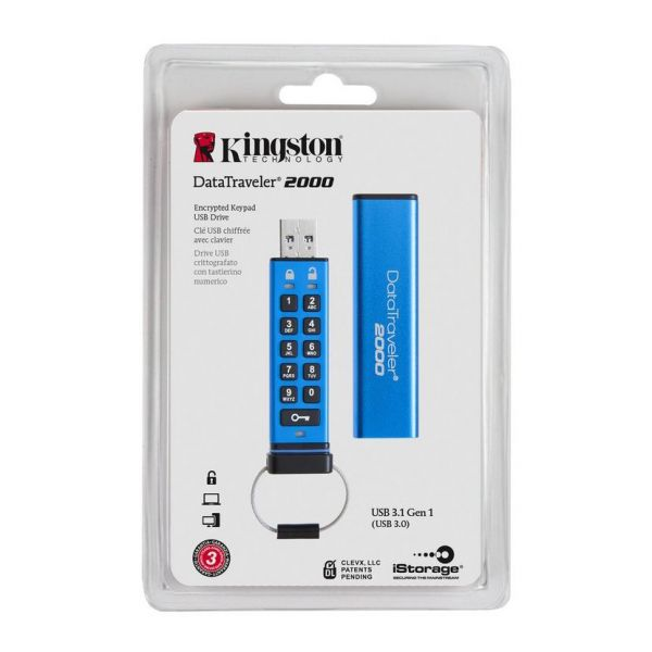 8GB USB-флэш накопитель Kingston Data Traveler 2000 256-AES, keypad