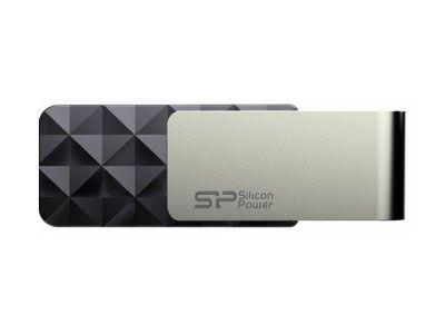32GB USB3.0накопитель Silicon Power B30 черный поворотный граненый