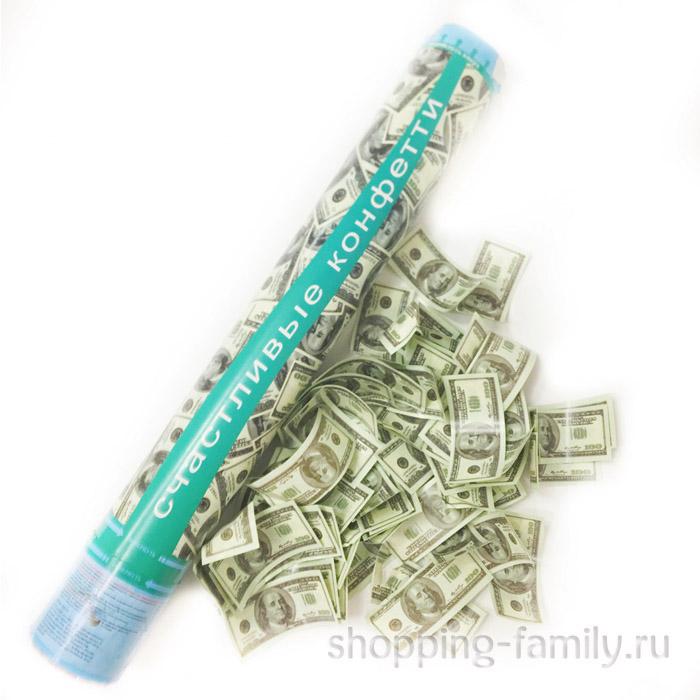 Хлопушка Счастливые конфетти в виде долларов, 40 см.