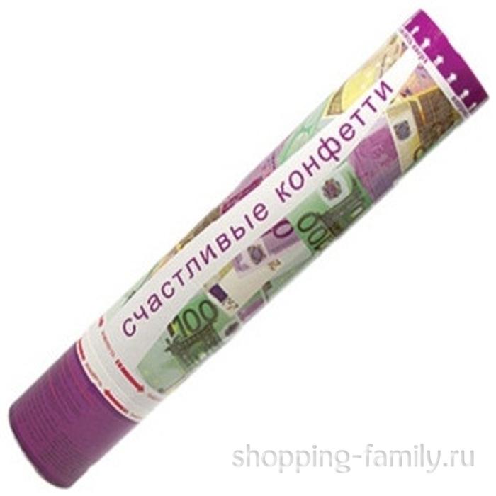 Хлопушка Счастливые конфетти в виде евро, 40 см.