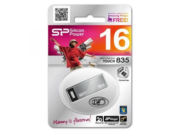 16GB USB-флэш накопитель Silicon Power Touch 835 корп. мет, водонепроницаемая, титан