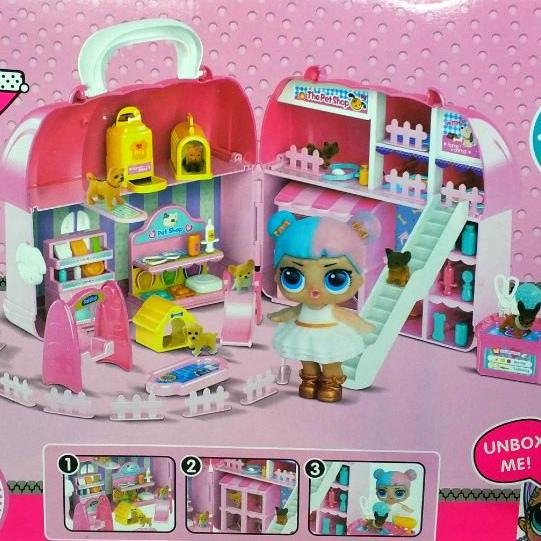 Кукольный домик чемоданчик ЛОЛ с мебелью,1 куклой и питомцами