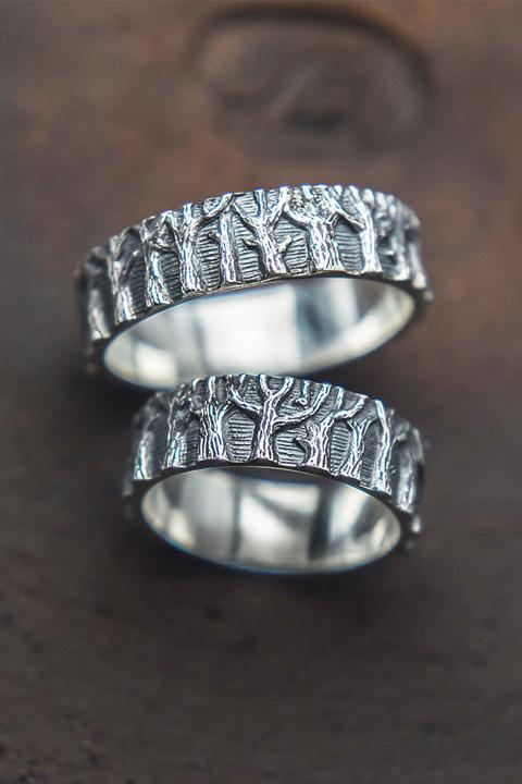 Кольца обручальные из серебра Хоровод Леса