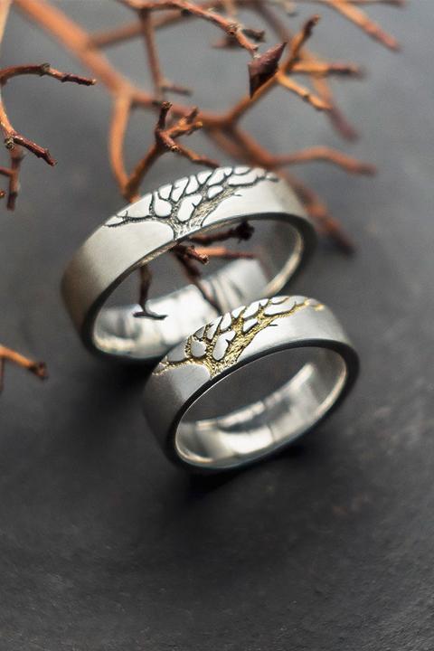 Серебряные обручальные кольца Чёрное и Золотое Древо