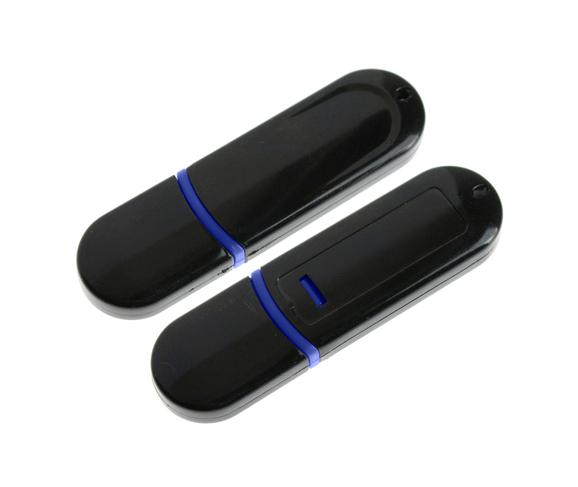 8GB USB-флэш накопитель UsbSouvenir 300, черный с синей полоской