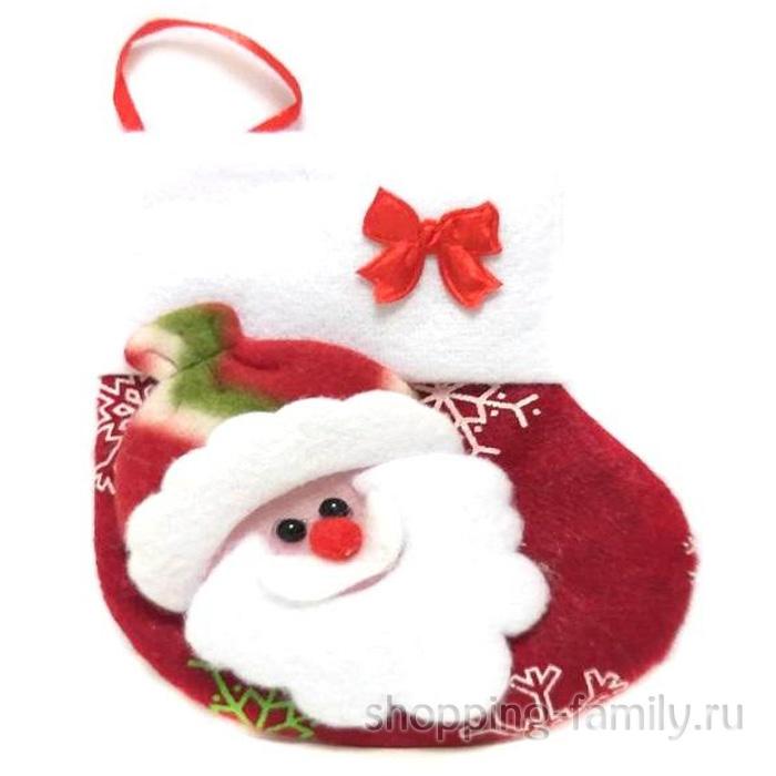 Новогодняя подвеска Носок для подарков, Дед Мороз