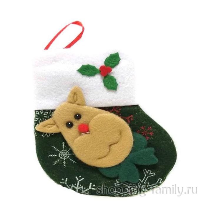 Новогодняя подвеска Носок для подарков, Зелёный с оленем