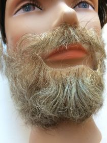 Борода с усами седая полная