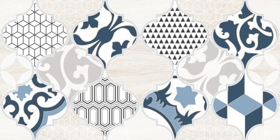 1641-8629 Настенная плитка декор1 Мореска 20х40 синяя