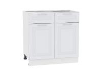 Шкаф нижний с 2-мя дверцами и 2-мя ящиками Ницца Royal Н801 в цвете Blanco