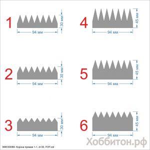 `Шаблон ''Корона прямая 1-1, основание 30 мм'' , ПЭТ 0,7 мм