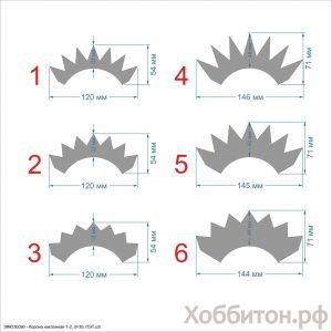 Шаблон ''Корона наклонная 1-2, основание 30 мм'' , ПЭТ 0,7 мм (1уп = 5шт)