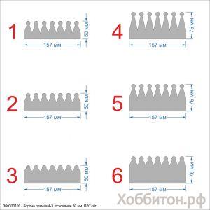 Шаблон ''Корона прямая 4-3, основание 50 мм'' , ПЭТ 0,7 мм (1уп = 5шт)
