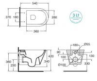 Унитаз Azzurra Forma подвесной безободковый FMVKSPE00000 (FOR100E/SOSK bi) схема 1