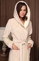 Женский бамбуковый халат с капюшоном Violetta бежевый, Five Wien