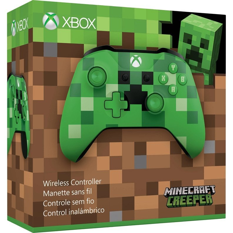 Microsoft Xbox One S Wireless Controller Minecraft Creeper Green