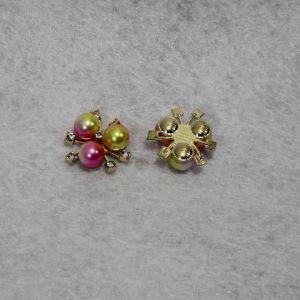 Кабошон со стразами, цвет основы: золото, цвет стразы: желто-розовый, размер: 20мм (1уп = 10шт)