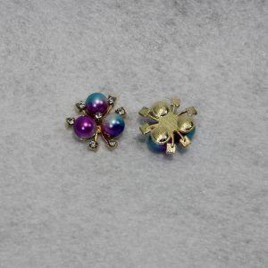 Кабошон со стразами, цвет основы: золото, цвет стразы: бирюзово-фиолетовый, размер: 20мм (1уп = 10шт)