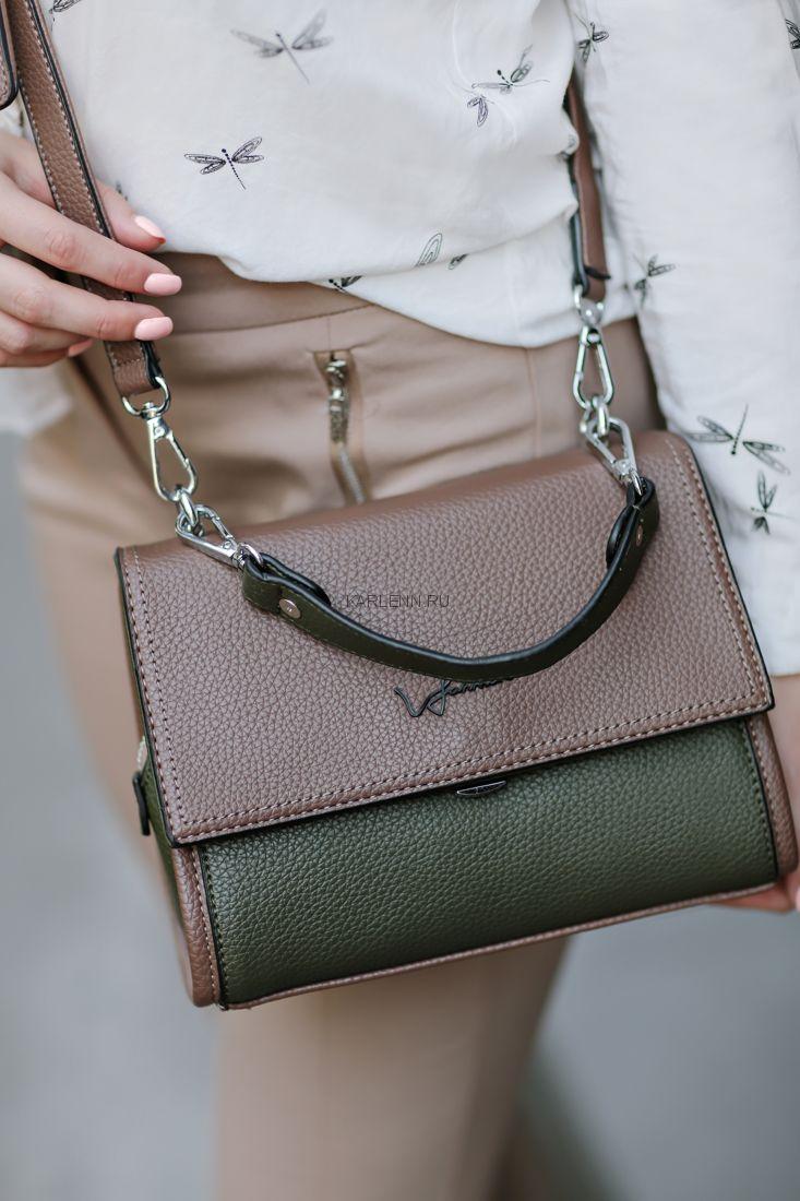 Мини-сумочка Velina Fabbiano (зелёно-бежевая)