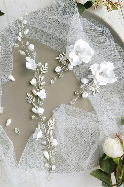 Свадебные клипсы и венок в прическу невесты