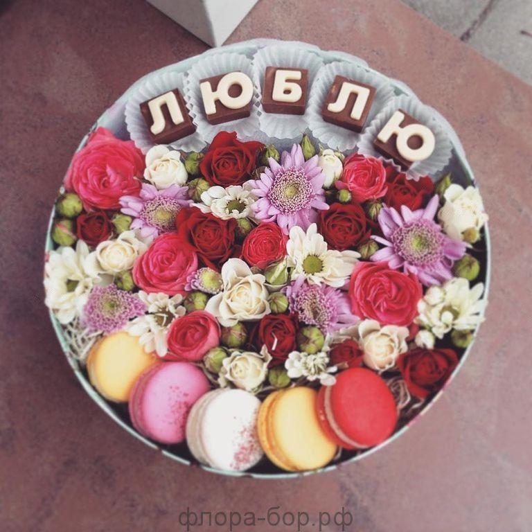 """Цветы в коробке """"Натурель"""""""