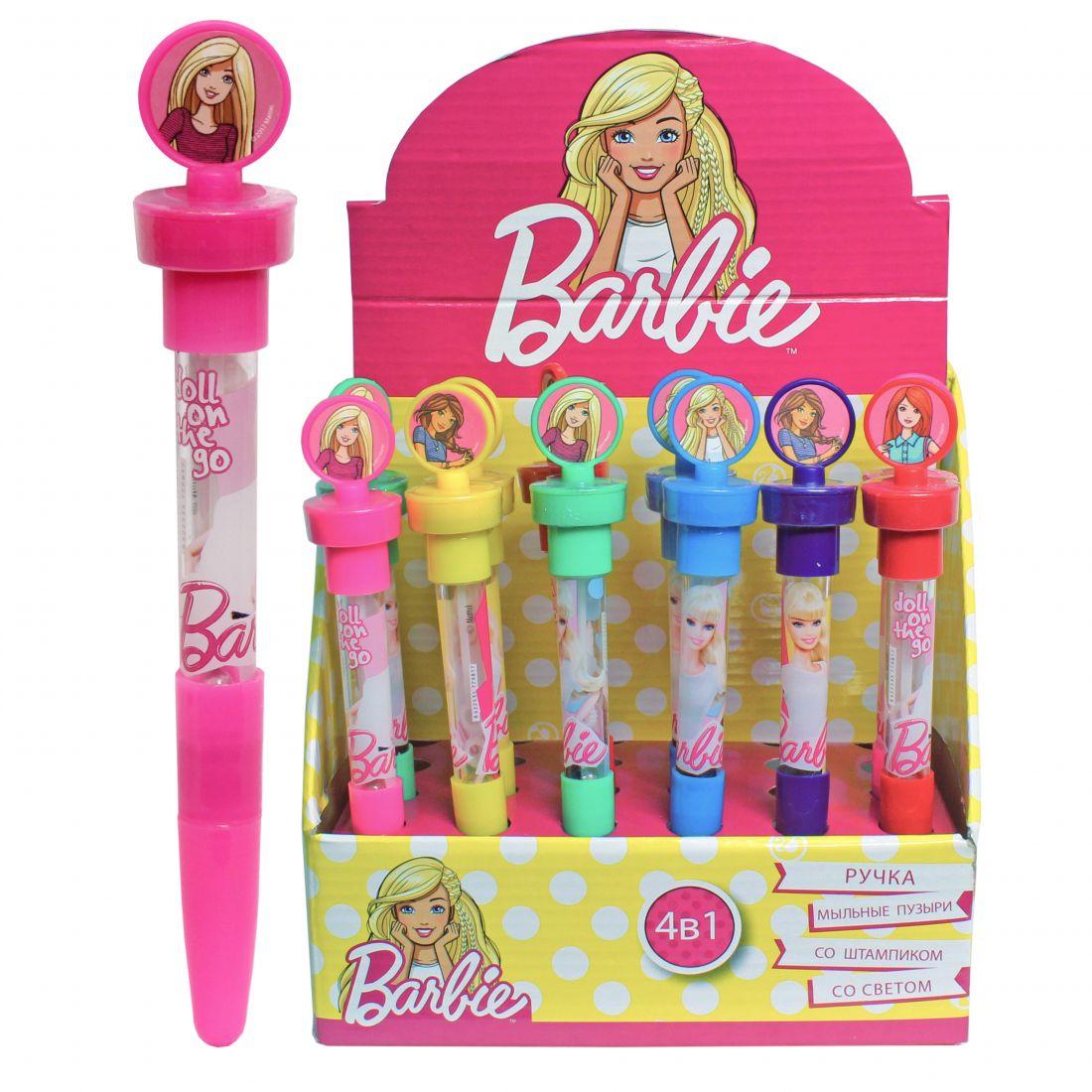 Ручка с Мыльными пузырями 4 в 1 Барби со светом, 5 мл