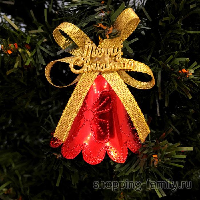 Красные колокольчики с золотистым бантиком Merry Christmas, 6 шт