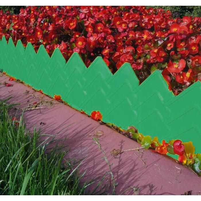 Бордюр для клумб 14х310 см 13 секций (цвет зелёный)