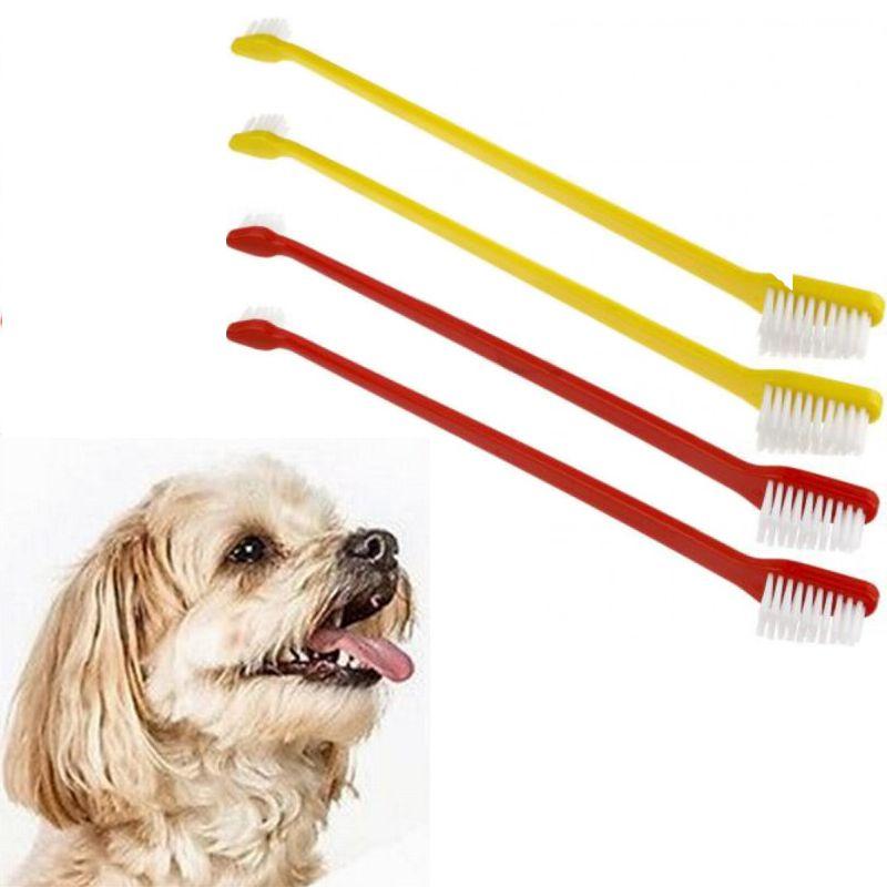Набор Двусторонних Зубных Щёток Для Собак Toothbrushes For Dogs, 4 Шт, Цвет Красный И Желтый