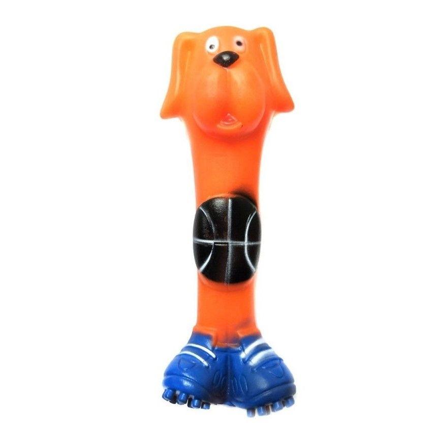 Виниловая Игрушка-Пищалка Гантеля Собака-Баскетболист, 17 См, Цвет Оранжевый