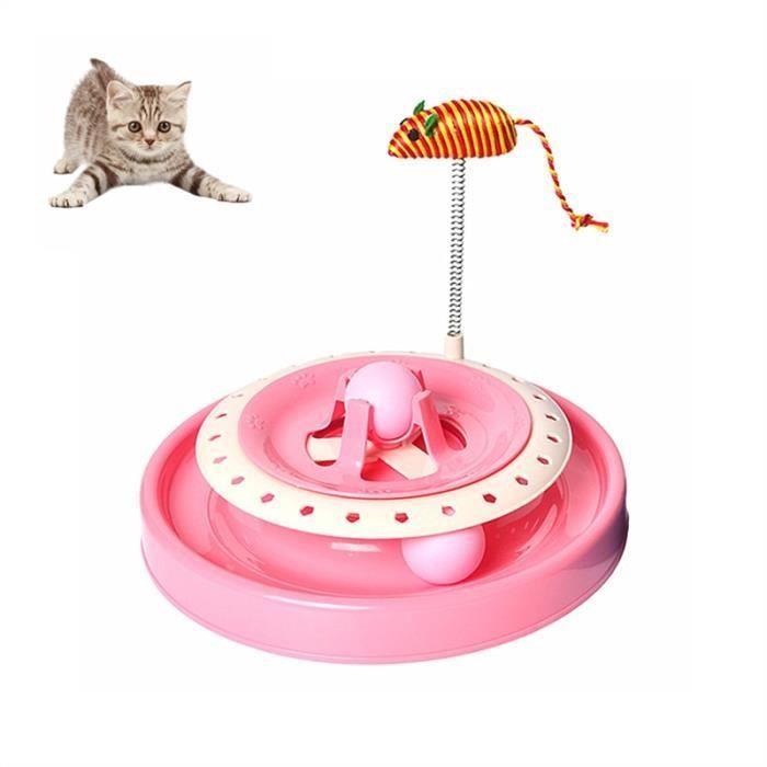 Игрушка-Трек Для Кошек С Двумя Мячиками Cat Scratch Pan (цвет розовый)
