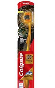Зубная щетка Колгейт 360 Золотая с древес. углем