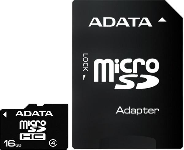16GB карта памяти MicroSDHC Class4 ADATA + адаптер SD