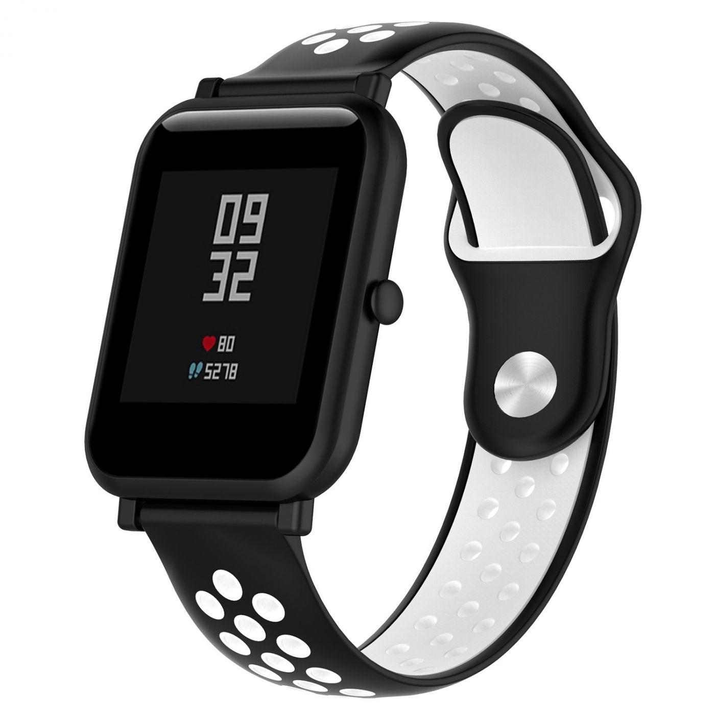 Сменный ремешок для Умных часов  Amazfit Bip Smartwatch (Черный - Белый)