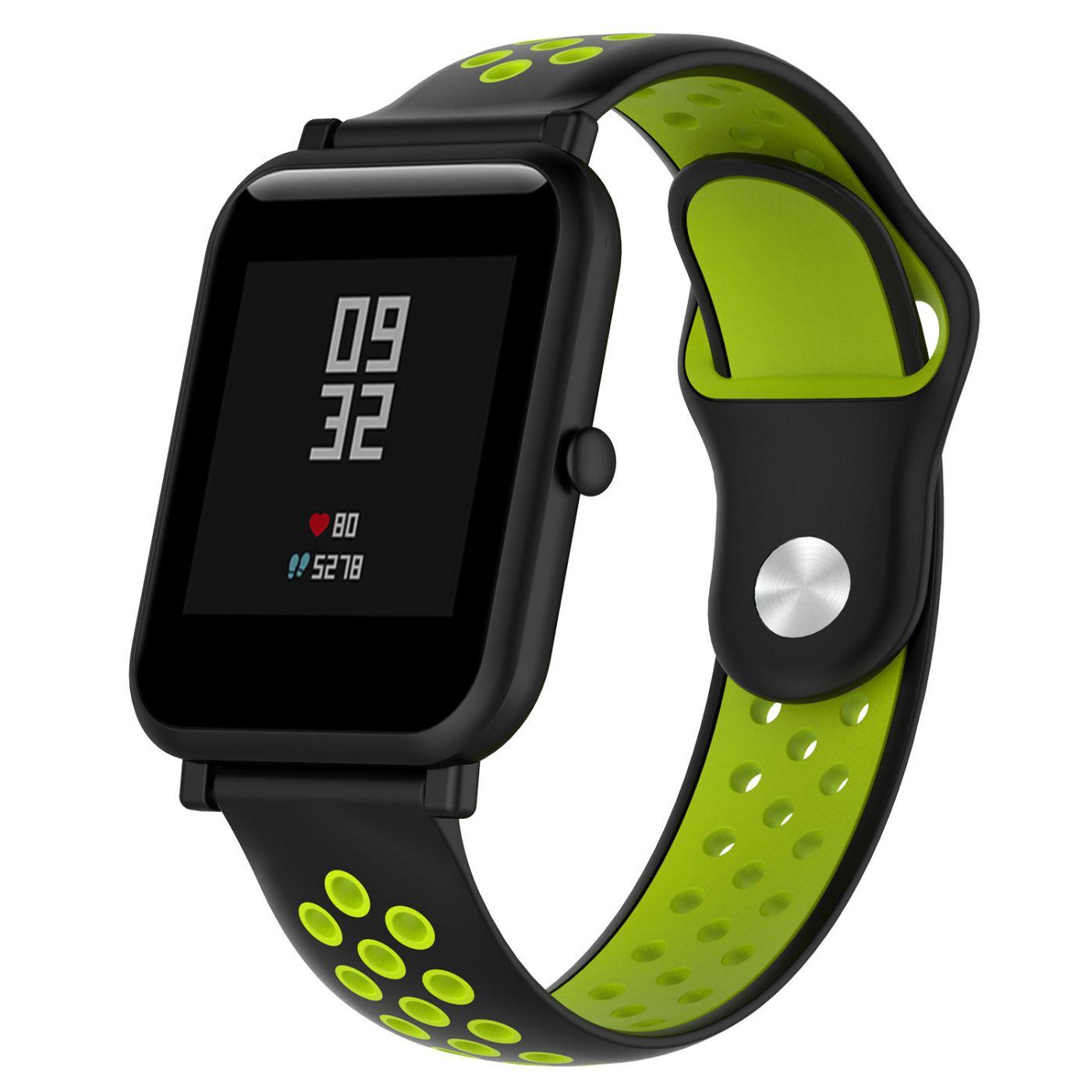 Сменный ремешок для Умных часов  Amazfit Bip Smartwatch (Черный - Салатовый)