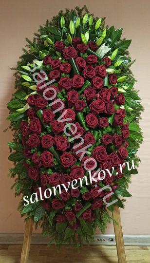 Элитный траурный венок из живых цветов №3, РАЗМЕР 100см,120см,140см,170см