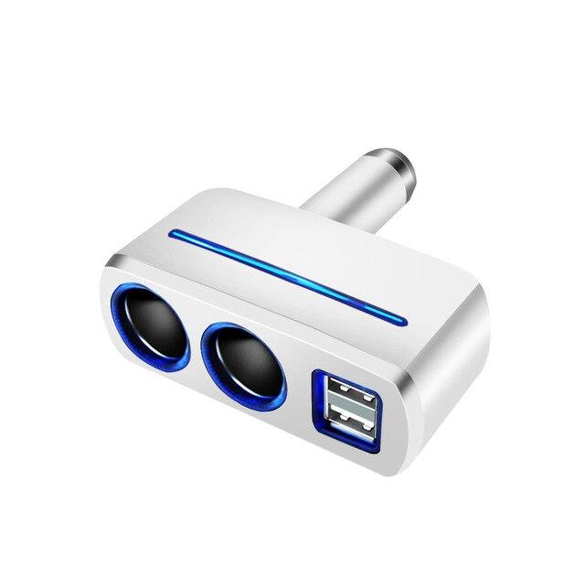 Авторазветвитель Прикуривателя На 2 Гнезда + 2 USB Olesson 1637, Цвет Белый