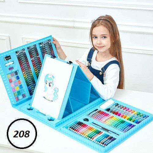 Набор для рисования со складным мольбертом в чемоданчике 208 предметов (цвет голубой)