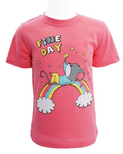 """Футболка для девочки 1-4 года Dias kids """"Fine day"""" малиновая"""