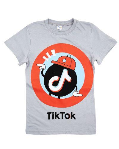 "Футболка для мальчика Dias kids 8-12 лет ""TikTok"" серый"