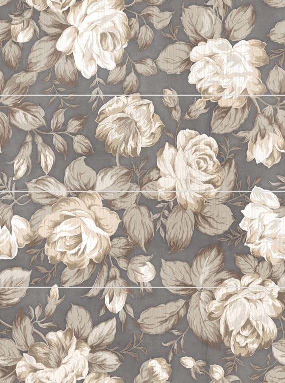 1608-0116 Панно настенное Фиори Гриджо 60х80 цветы (комплект из 4 шт)