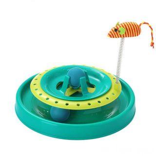 Игрушка-трек для кошек с двумя мячиками Cat Scratch Pan, Цвет: Голубой